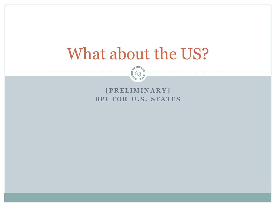 [PRELIMINARY] BPI FOR U.S. STATES 63 What about the US?