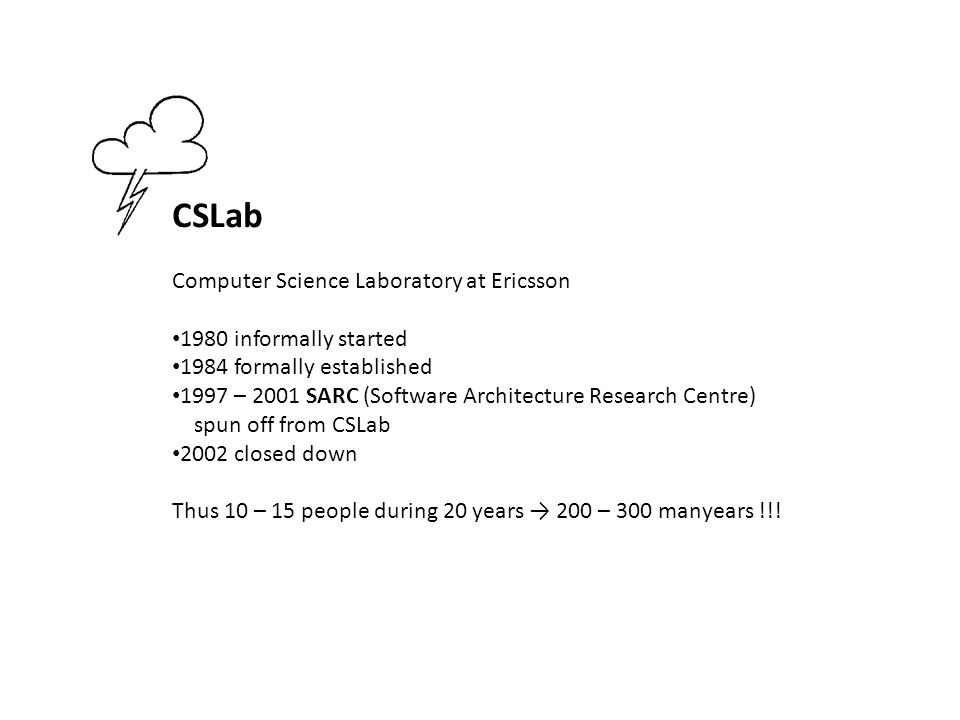 CSLab Computer Science Laboratory at Ericsson 1980 informally started 1984 formally established 1997 – 2001 SARC (Software Architecture Research Centr