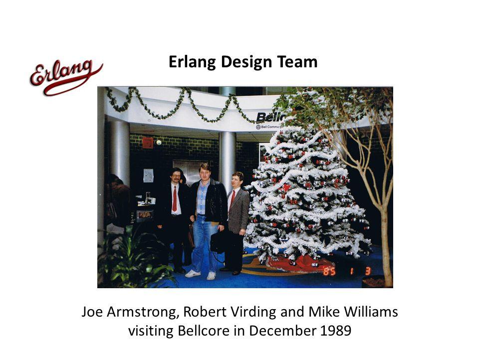 Erlang Design Team Joe Armstrong, Robert Virding and Mike Williams visiting Bellcore in December 1989