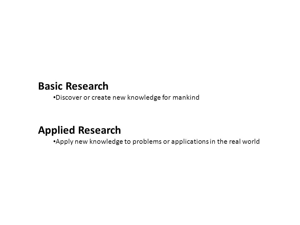 Basic Research Discover or create new knowledge for mankind Applied Research Apply new knowledge to problems or applications in the real world