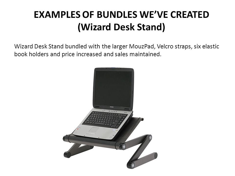 EXAMPLES OF BUNDLES WE'VE CREATED (Wizard Desk Stand) Wizard Desk Stand bundled with the larger MouzPad, Velcro straps, six elastic book holders and price increased and sales maintained.