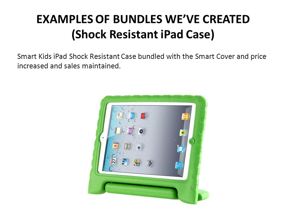 EXAMPLES OF BUNDLES WE'VE CREATED (Shock Resistant iPad Case) Smart Kids iPad Shock Resistant Case bundled with the Smart Cover and price increased and sales maintained.