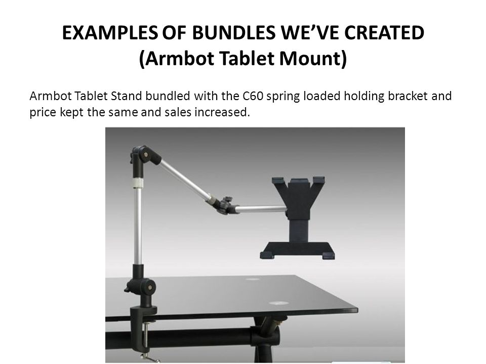 EXAMPLES OF BUNDLES WE'VE CREATED (Armbot Tablet Mount) Armbot Tablet Stand bundled with the C60 spring loaded holding bracket and price kept the same and sales increased.