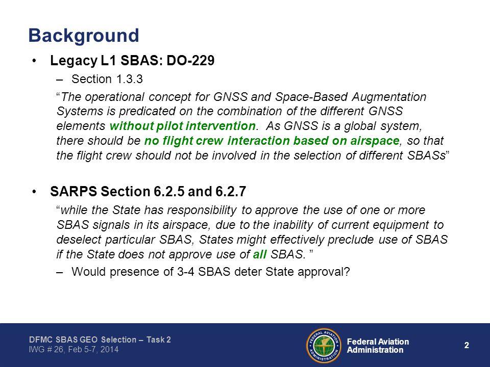 "2 Federal Aviation Administration DFMC SBAS GEO Selection – Task 2 IWG # 26, Feb 5-7, 2014 Background Legacy L1 SBAS: DO-229 –Section 1.3.3 ""The opera"