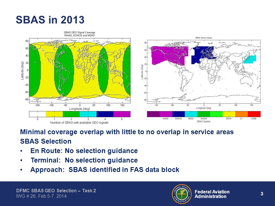 3 Federal Aviation Administration DFMC SBAS GEO Selection – Task 2 IWG # 26, Feb 5-7, 2014 SBAS in 2013 Minimal coverage overlap with little to no ove
