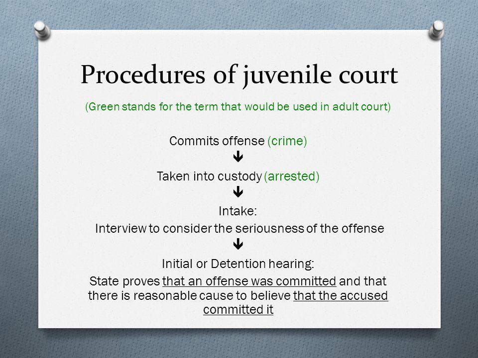 Procedures of juvenile court (Green stands for the term that would be used in adult court) Commits offense (crime)  Taken into custody (arrested)  I