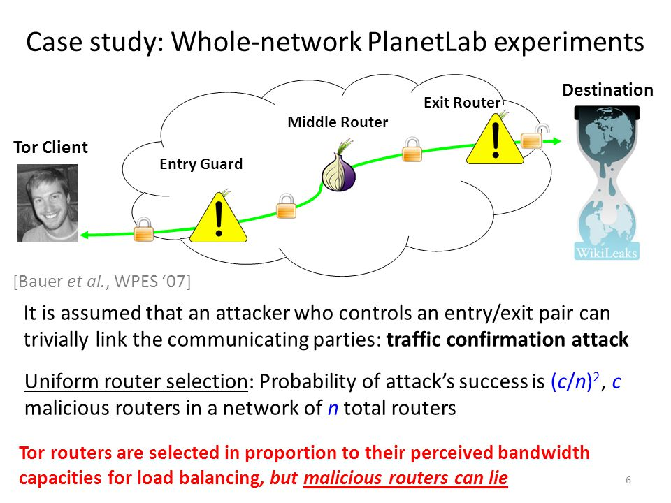 Case study: Whole-network PlanetLab experiments Uniform router selection: Probability of attack's success is (c/n) 2, c malicious routers in a network of n total routers It is assumed that an attacker who controls an entry/exit pair can trivially link the communicating parties: traffic confirmation attack 6 Tor Client Destination Entry Guard Middle Router Exit Router Tor routers are selected in proportion to their perceived bandwidth capacities for load balancing, but malicious routers can lie [Bauer et al., WPES '07]