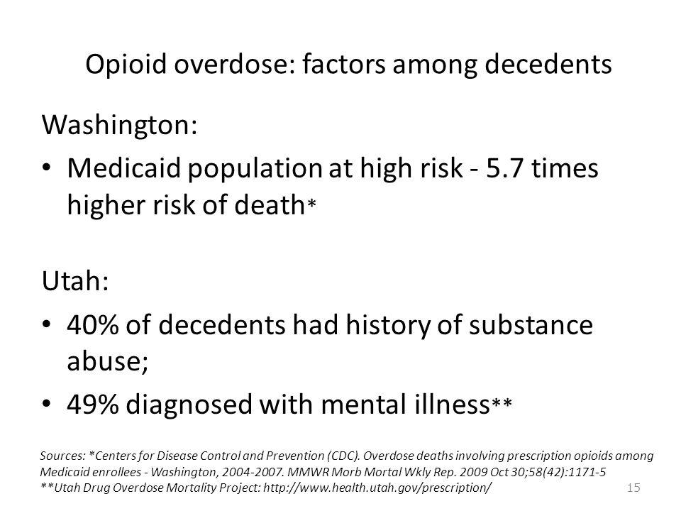 Opioid overdose: factors among decedents Washington: Medicaid population at high risk - 5.7 times higher risk of death * Utah: 40% of decedents had hi
