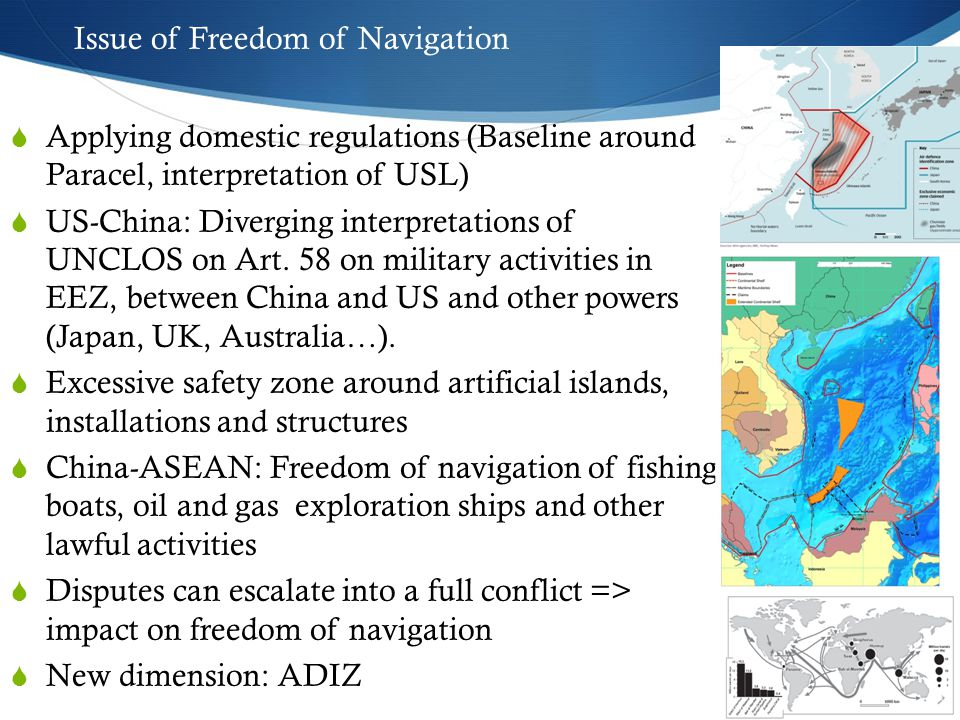 Interests of Concerned Parties China:  Important part within the strategic stability belt in the near seas  Chinese navy is shifting to far-seas operations: The South China Sea then becomes an area for training exercises and a springboard for China to move out (to Pacific, Indian Ocean)  Energy Security: Resource; Transportation; Regime survival => Beijing has legitimate concerns to develop naval forces to protect its SLOC.