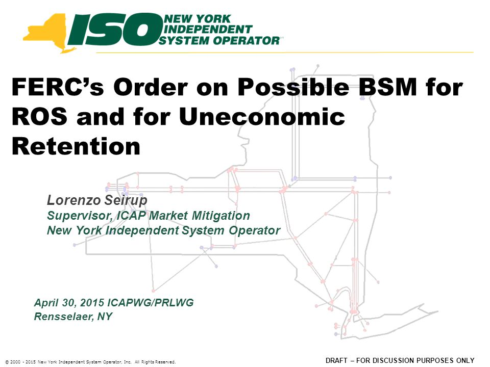 © 2000 - 2015 New York Independent System Operator, Inc.