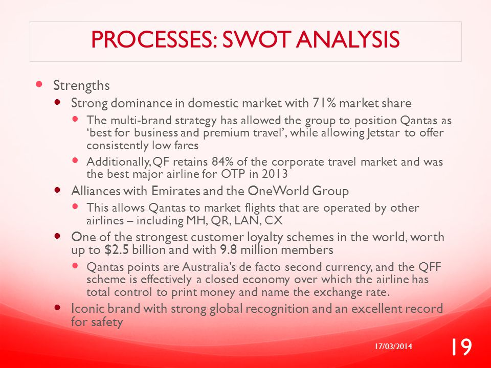 PROCESSES: SWOT ANALYSIS Strengths Strong dominance in domestic market with 71% market share The multi-brand strategy has allowed the group to positio