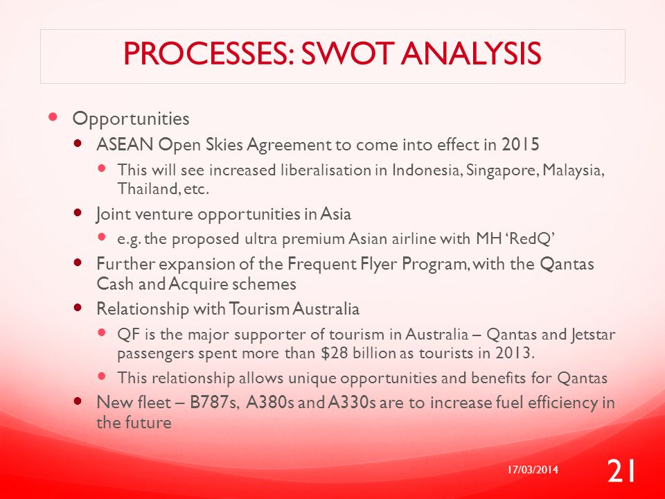 PROCESSES: SWOT ANALYSIS Opportunities ASEAN Open Skies Agreement to come into effect in 2015 This will see increased liberalisation in Indonesia, Sin