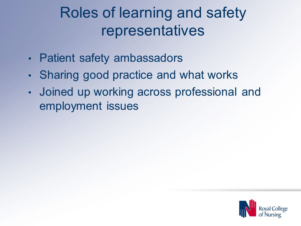 Roles of learning and safety representatives Patient safety ambassadors Sharing good practice and what works Joined up working across professional and employment issues