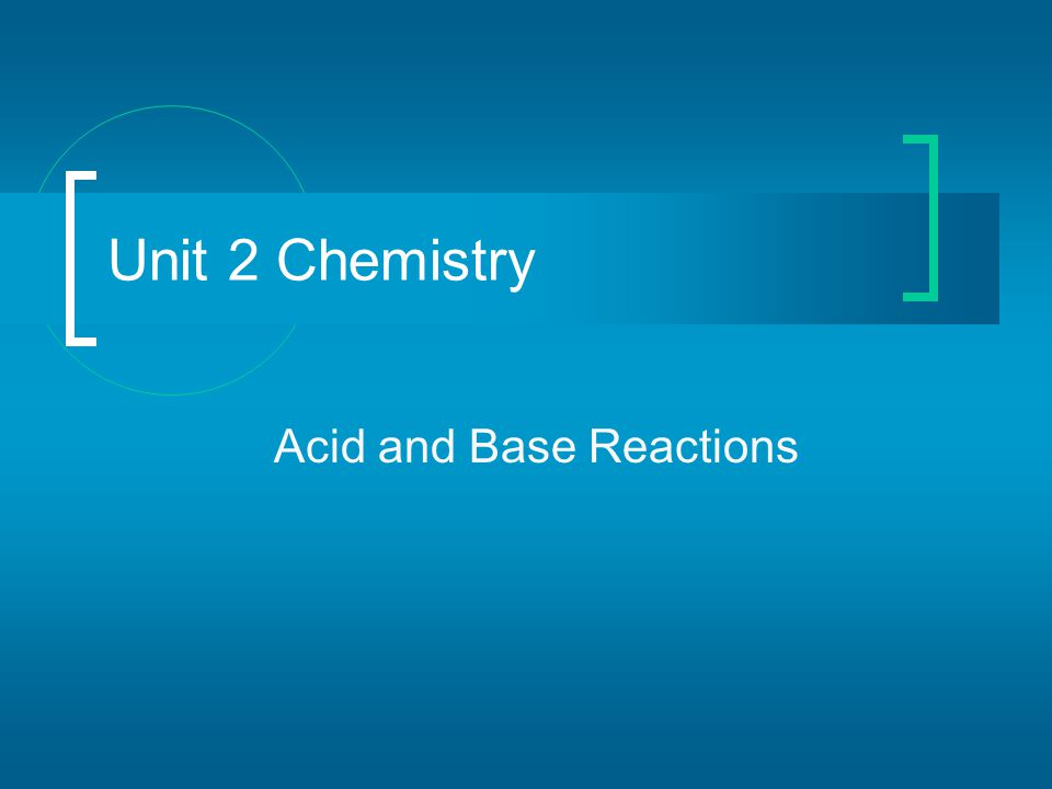 Acid and Base Reactions Unit 2 Chemistry