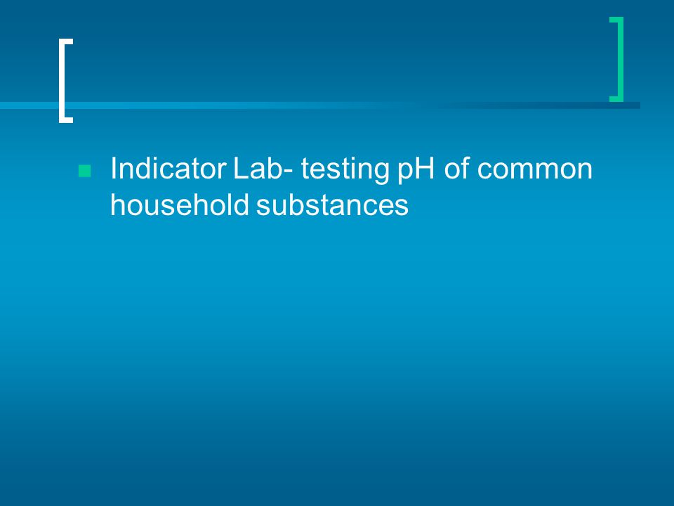 Indicator Lab- testing pH of common household substances