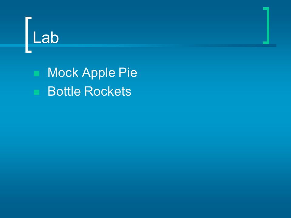 Lab Mock Apple Pie Bottle Rockets