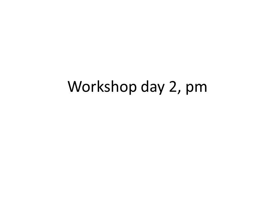 Workshop day 2, pm