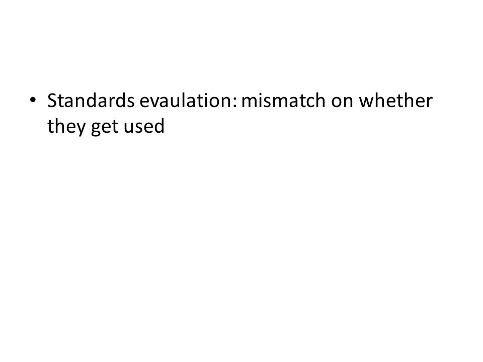 Standards evaulation: mismatch on whether they get used