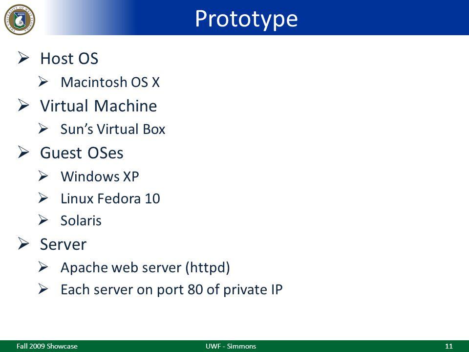 Prototype  Host OS  Macintosh OS X  Virtual Machine  Sun's Virtual Box  Guest OSes  Windows XP  Linux Fedora 10  Solaris  Server  Apache web server (httpd)  Each server on port 80 of private IP Fall 2009 ShowcaseUWF - Simmons11