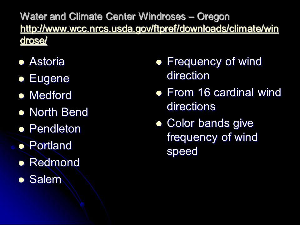 Water and Climate Center Windroses – Oregon http://www.wcc.nrcs.usda.gov/ftpref/downloads/climate/win drose/ http://www.wcc.nrcs.usda.gov/ftpref/downloads/climate/win drose/ http://www.wcc.nrcs.usda.gov/ftpref/downloads/climate/win drose/ Astoria Astoria Eugene Eugene Medford Medford North Bend North Bend Pendleton Pendleton Portland Portland Redmond Redmond Salem Salem Frequency of wind direction Frequency of wind direction From 16 cardinal wind directions From 16 cardinal wind directions Color bands give frequency of wind speed Color bands give frequency of wind speed