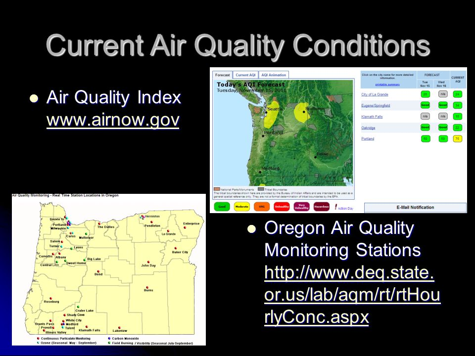 Current Air Quality Conditions Air Quality Index www.airnow.gov Air Quality Index www.airnow.gov www.airnow.gov Oregon Air Quality Monitoring Stations http://www.deq.state.