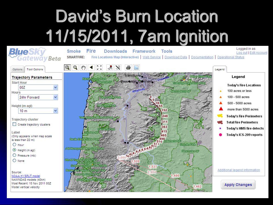 David's Burn Location 11/15/2011, 7am Ignition