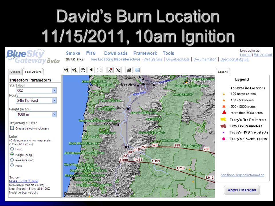 David's Burn Location 11/15/2011, 10am Ignition