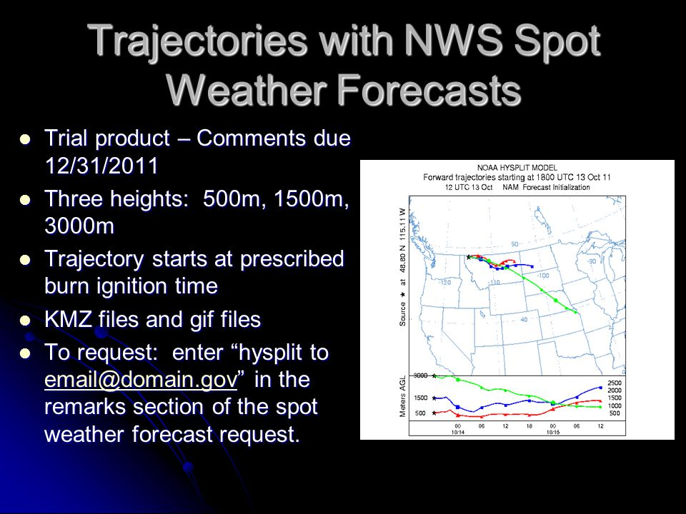 Trajectories with NWS Spot Weather Forecasts Trial product – Comments due 12/31/2011 Trial product – Comments due 12/31/2011 Three heights: 500m, 1500