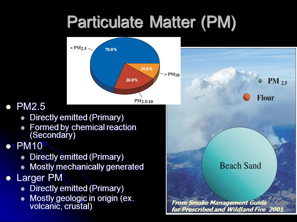 Particulate Matter (PM) PM2.5 PM2.5 Directly emitted (Primary) Directly emitted (Primary) Formed by chemical reaction (Secondary) Formed by chemical r