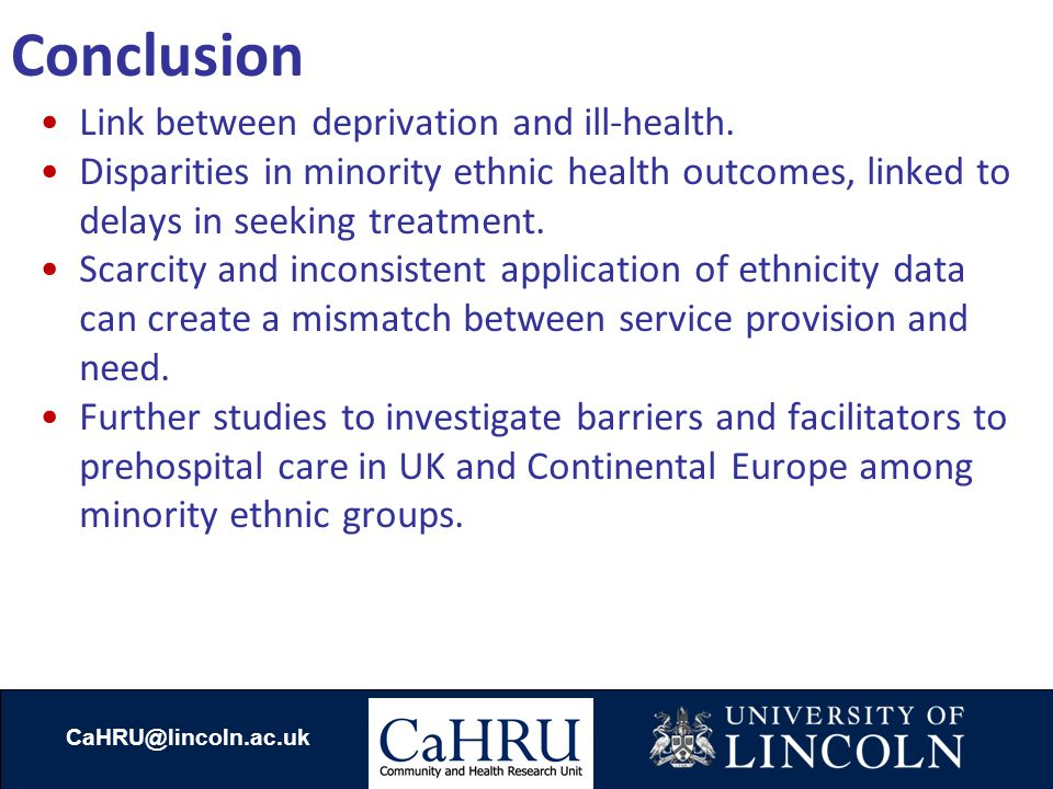 Conclusion Link between deprivation and ill-health.