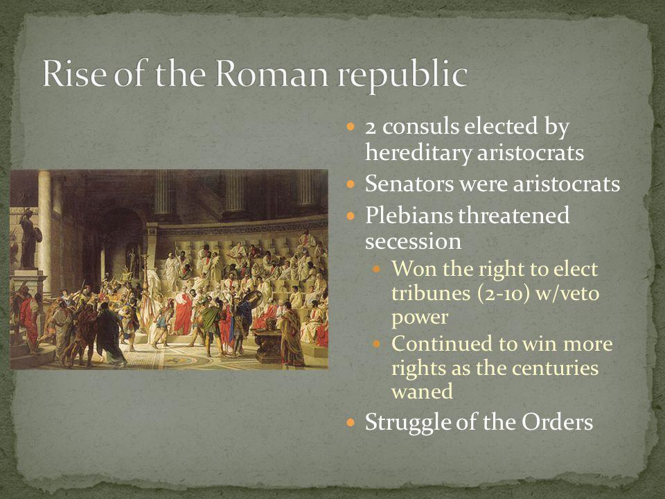 2 consuls elected by hereditary aristocrats Senators were aristocrats Plebians threatened secession Won the right to elect tribunes (2-10) w/veto powe