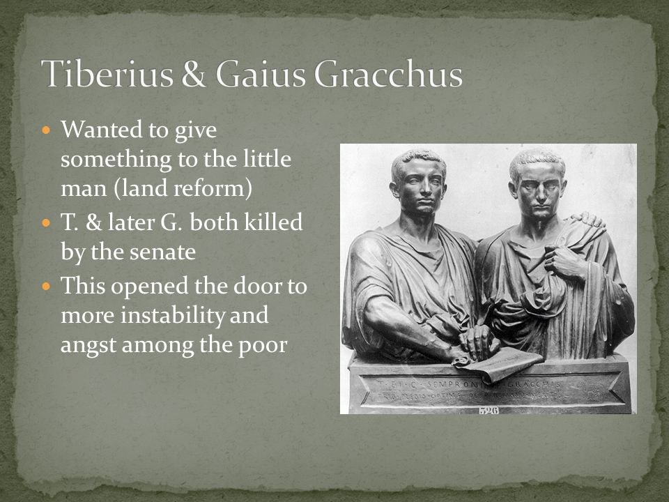 Wanted to give something to the little man (land reform) T. & later G. both killed by the senate This opened the door to more instability and angst am