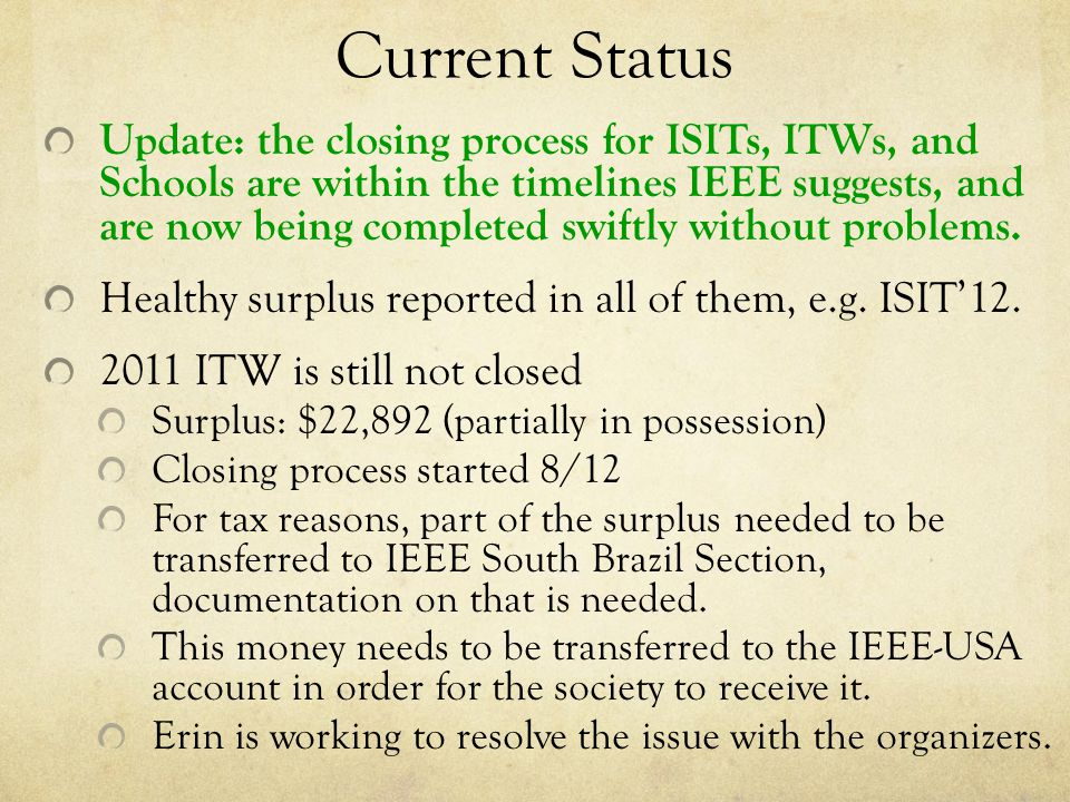 Current Status Update: the closing process for ISITs, ITWs, and Schools are within the timelines IEEE suggests, and are now being completed swiftly without problems.