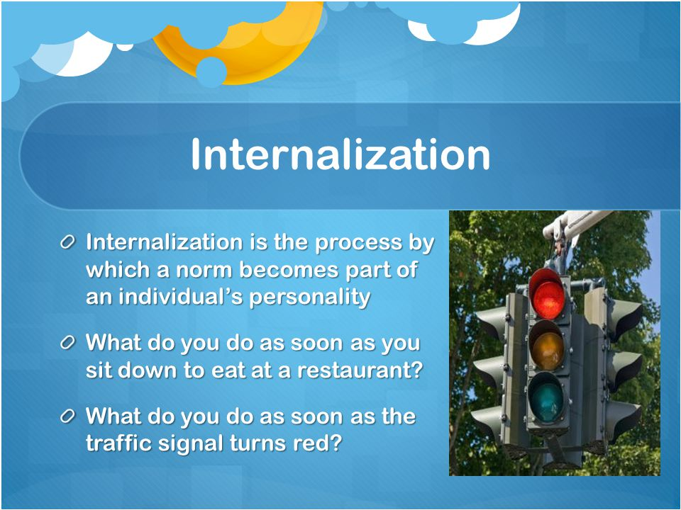 Internalization Internalization is the process by which a norm becomes part of an individual's personality What do you do as soon as you sit down to eat at a restaurant.