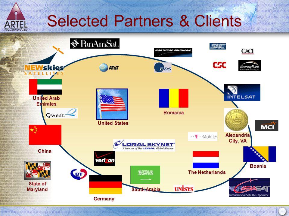 Selected Partners & Clients Romania Saudi Arabia China United Arab Emirates State of Maryland Alexandria City, VA Germany The Netherlands Bosnia United States