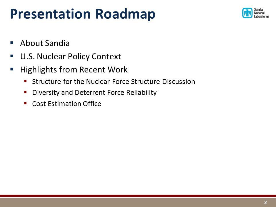 Presentation Roadmap  About Sandia  U.S.