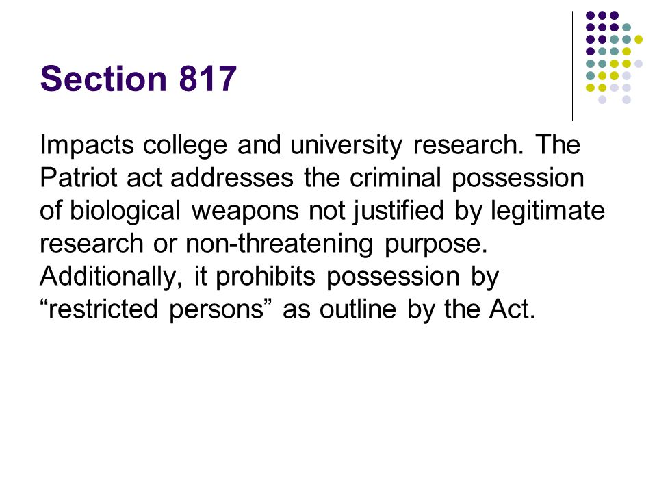 Section 817 Impacts college and university research.