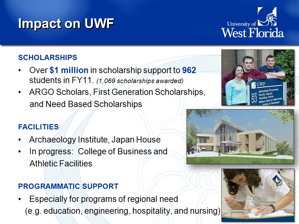 SCHOLARSHIPS Over $1 million in scholarship support to 962 students in FY11. (1,069 scholarships awarded) ARGO Scholars, First Generation Scholarships