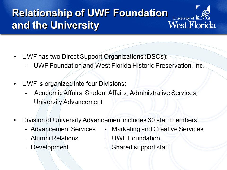 Relationship of UWF Foundation and the University Relationship of UWF Foundation and the University UWF has two Direct Support Organizations (DSOs): -UWF Foundation and West Florida Historic Preservation, Inc.