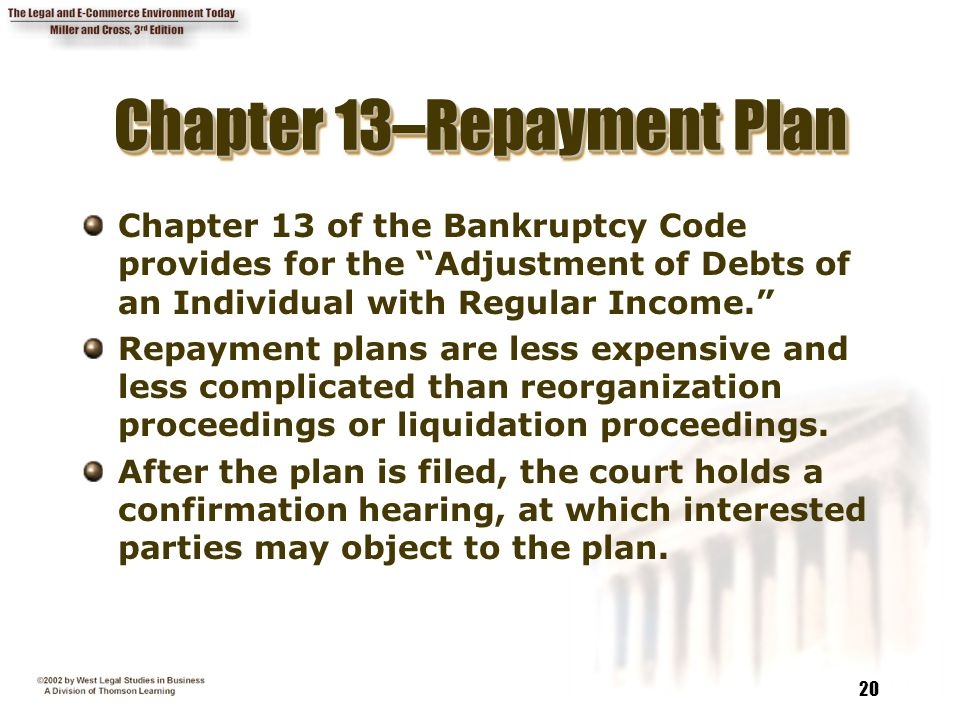 """20 Chapter 13–Repayment Plan Chapter 13 of the Bankruptcy Code provides for the """"Adjustment of Debts of an Individual with Regular Income."""" Repayment"""