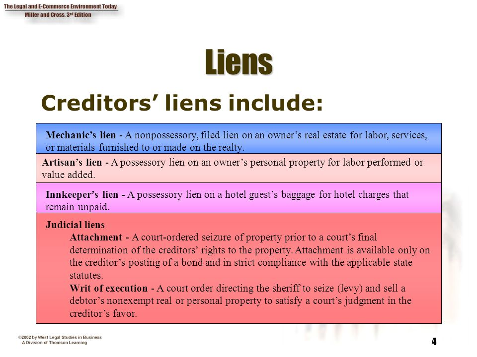 4 LiensLiens Creditors' liens include: Mechanic's lien - A nonpossessory, filed lien on an owner's real estate for labor, services, or materials furni