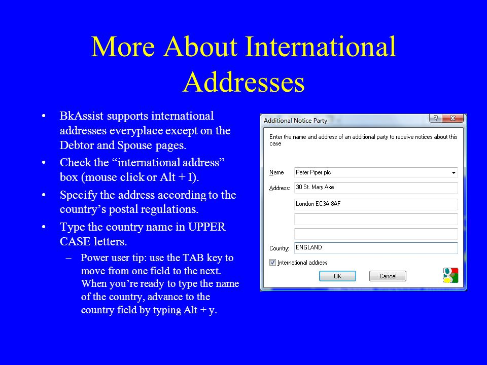 More About International Addresses BkAssist supports international addresses everyplace except on the Debtor and Spouse pages.