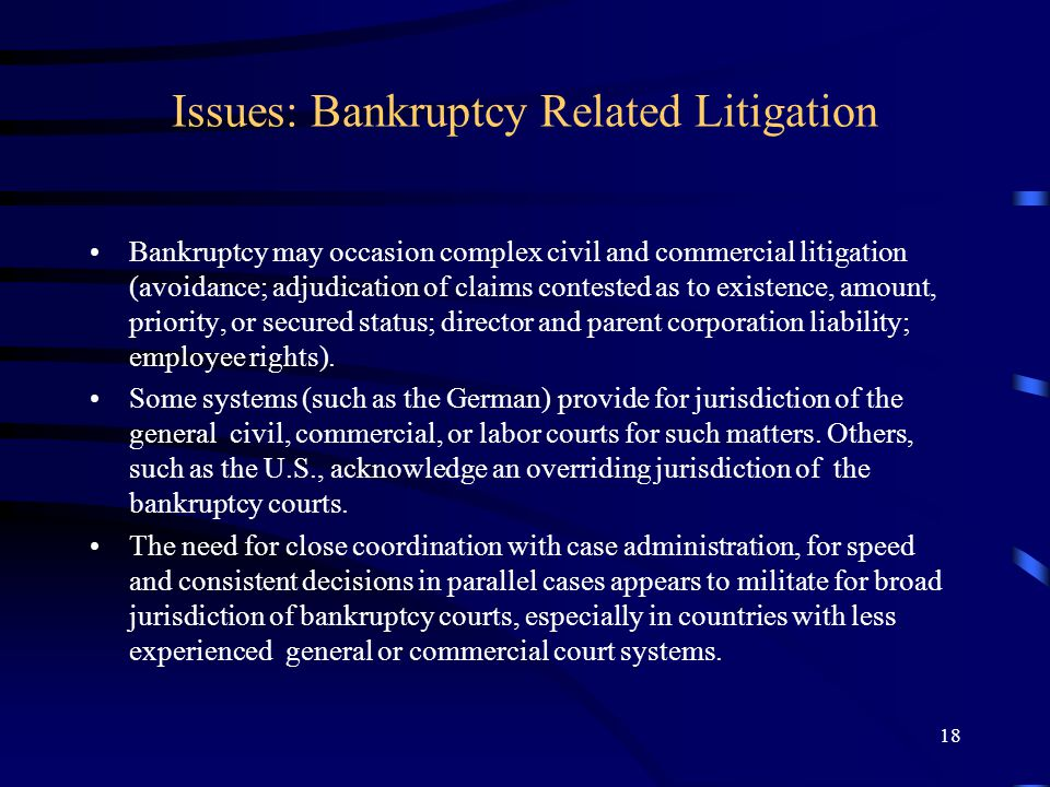 18 Issues: Bankruptcy Related Litigation Bankruptcy may occasion complex civil and commercial litigation (avoidance; adjudication of claims contested as to existence, amount, priority, or secured status; director and parent corporation liability; employee rights).