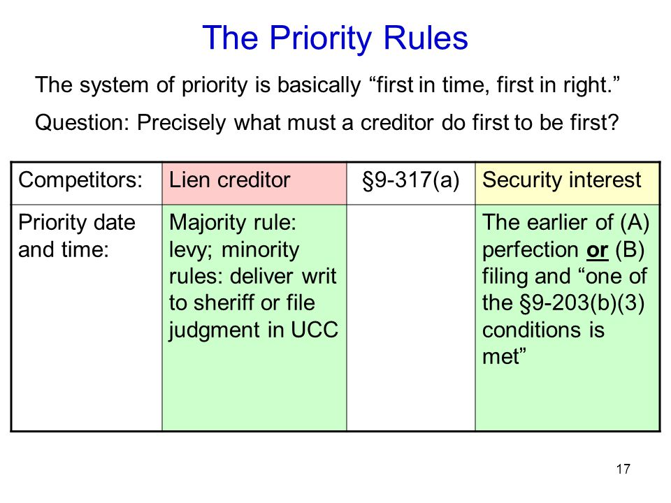 """17 The system of priority is basically """"first in time, first in right."""" Question: Precisely what must a creditor do first to be first? Competitors:Lie"""