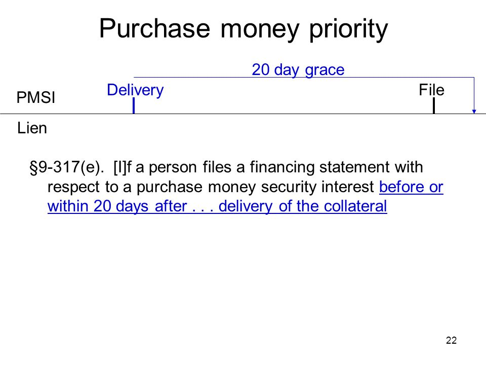22 Purchase money priority PMSI Delivery 20 day grace §9-317(e). [I]f a person files a financing statement with respect to a purchase money security i