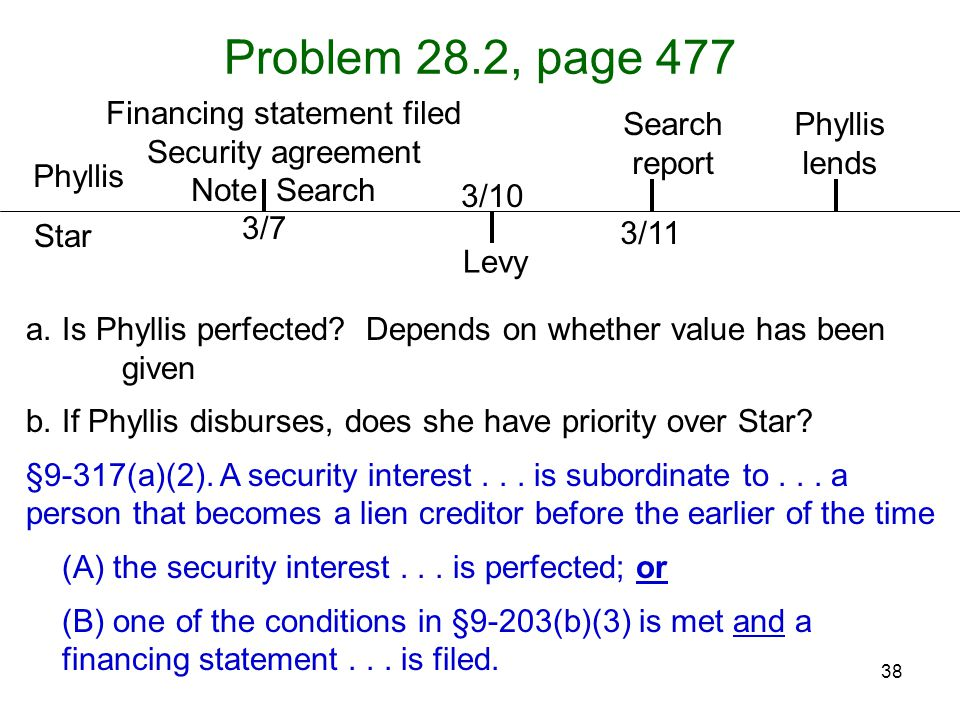 38 Problem 28.2, page 477 Phyllis Star a.Is Phyllis perfected? Depends on whether value has been given b.If Phyllis disburses, does she have priority