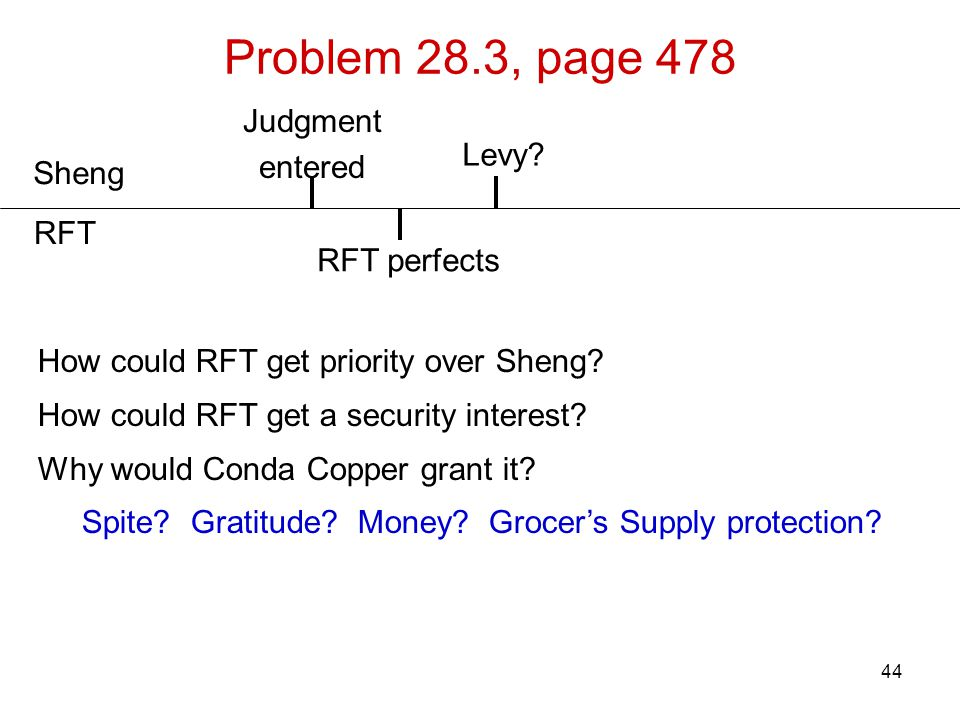 44 Problem 28.3, page 478 Sheng RFT Judgment entered How could RFT get priority over Sheng? How could RFT get a security interest? Why would Conda Cop