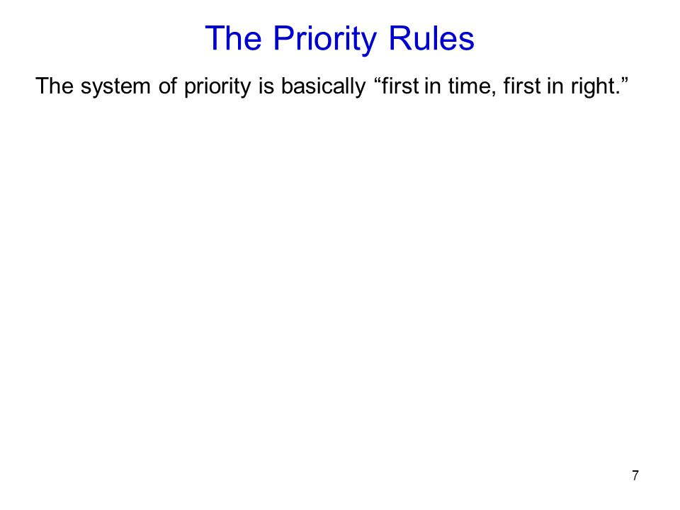 """7 The Priority Rules The system of priority is basically """"first in time, first in right."""""""