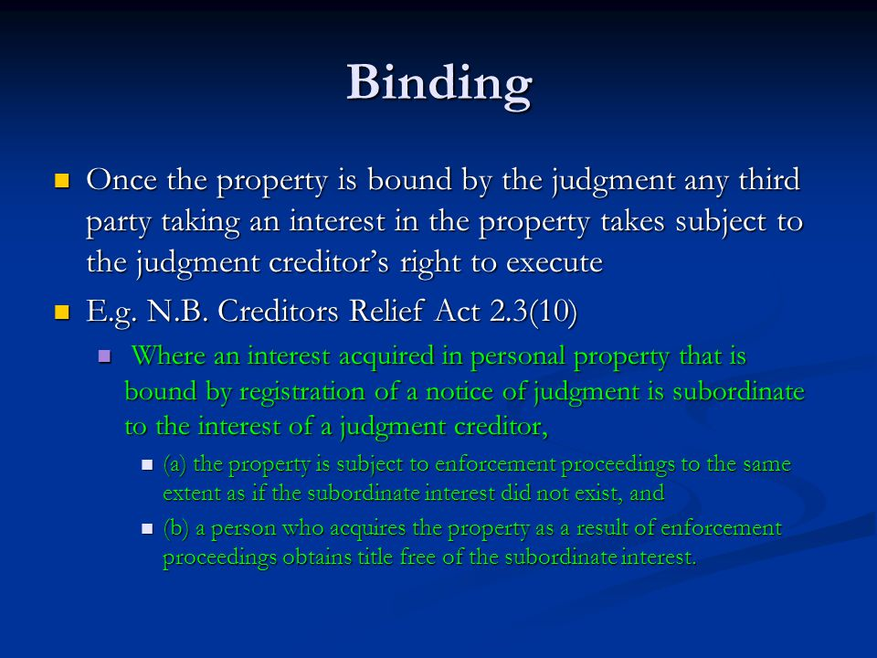 Binding Problem Problem Conflict of interests between Conflict of interests between JC JC Third parties dealing with the collateral Third parties dealing with the collateral Balance Balance Easy and effective binding Easy and effective binding Against Against Adequate protection for third parties Adequate protection for third parties