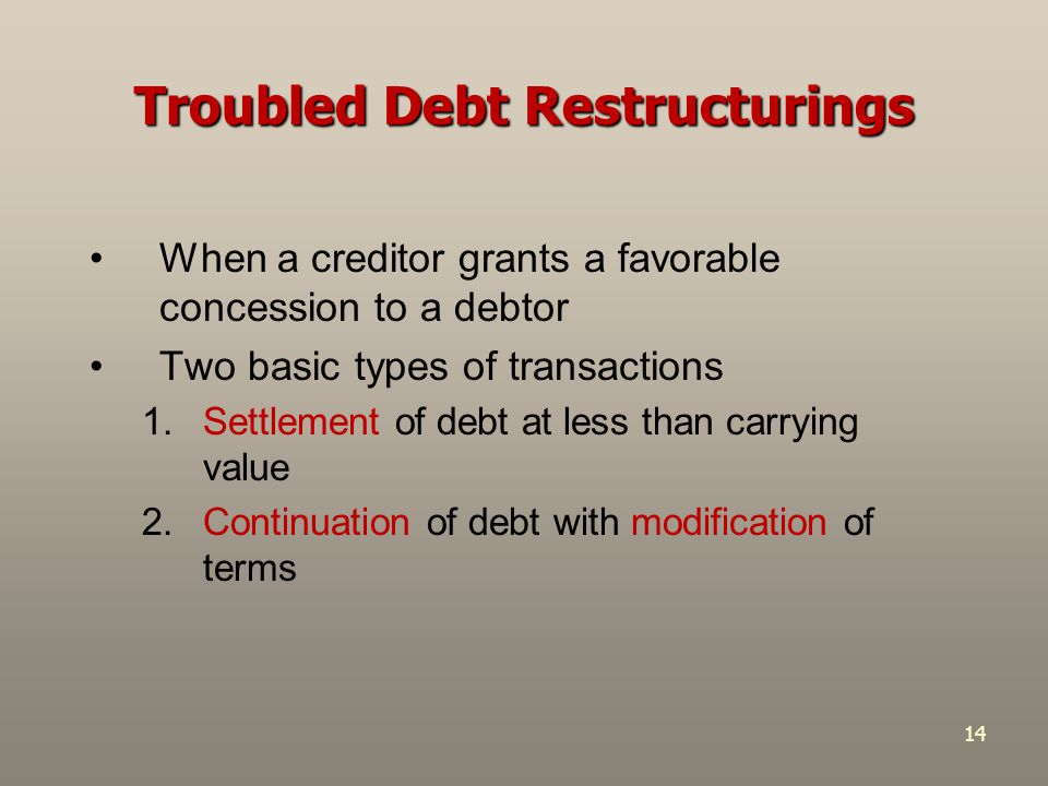 14 Troubled Debt Restructurings When a creditor grants a favorable concession to a debtor Two basic types of transactions 1.Settlement of debt at less than carrying value 2.Continuation of debt with modification of terms